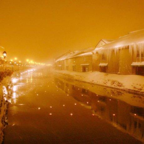 北海道小樽夜雪